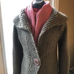 Platinum Grey Italian Wool Shawl Collar Sweater
